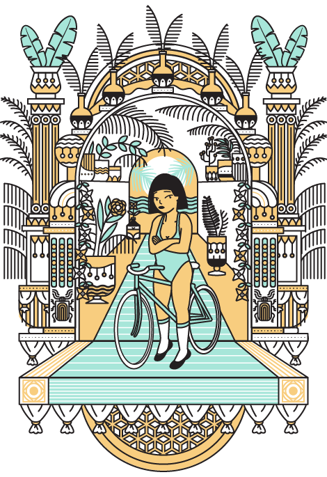 1Biking_illustration_woman_Design_Graphic